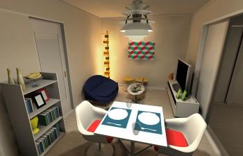 ホワイトの家具に囲まれたスペーシーなお部屋