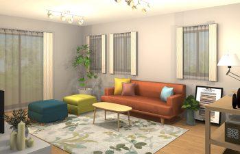 カラフルな家具で彩るポップな広々リビング