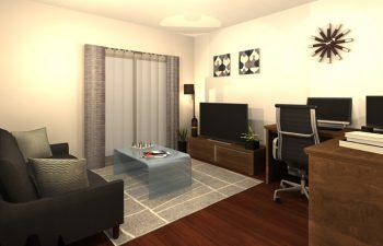 仕事も休息もできる、機能的なリビングルーム
